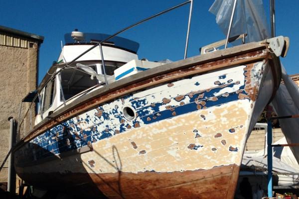 Old italian wooden boat